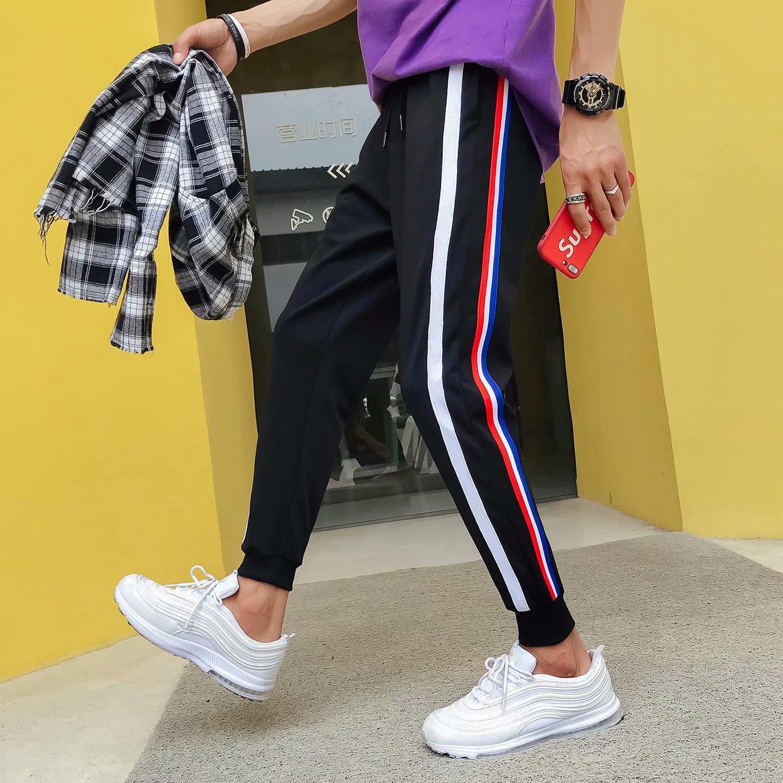 Summer Athletic Pants Men's Thin Pants Casual Pants Korean-style Trend Skinny Pants Teenager Students Beam Leg Capri Pants
