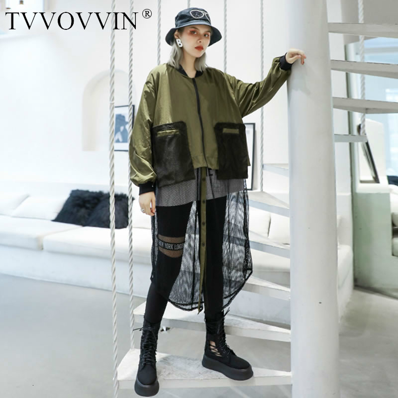 TVVOVVIN Patchwork Hollow Out Pocket Long   Trench   Women Clothes 2019 Fashion Tide Personality Match All Coat Top Autumn New D392