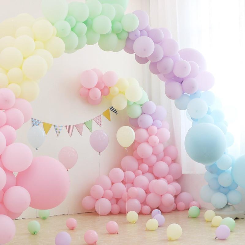 50 шт., 10 дюймов/12 дюймов, Макаруны, белые, розовые, пастельные, латексные шары для свадебного декора, декор для детского душа, воздушные гелиев...