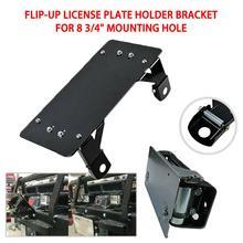 2020 new Solid Flip-up Winch Roller Fairlead License Plate Holder Bracket Mount Stainless Steel Black for 8 3/4