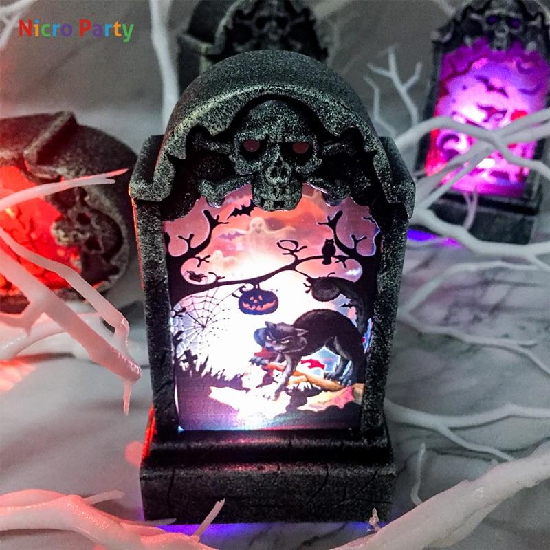 Nicro 4 cores retro simulação lápide placa de luz halloween decoração festa decoração do evento suprimentos # oth208