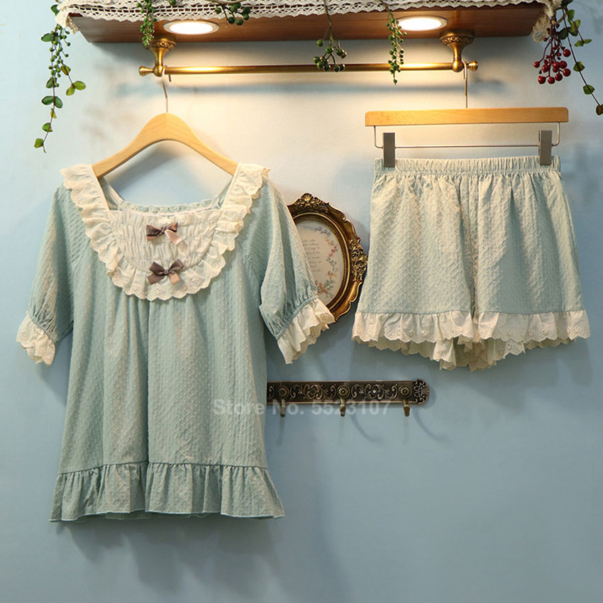 Summer Short Sleeve Woman Pajamas Set Cotton Breathable Lounge Vintage Cute Lolita Clothing Lace Bow Tie Sleepwear For Female