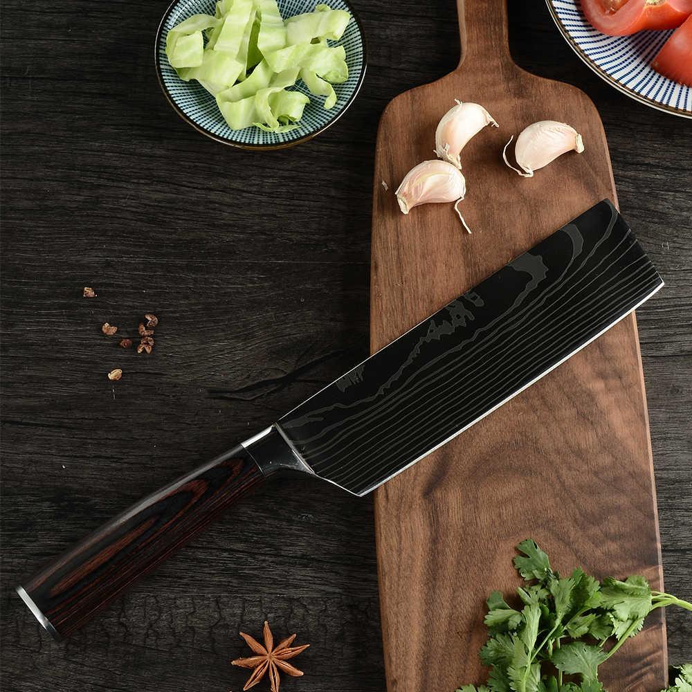 Cuchillo de cuchilla Nakiri de 7 pulgadas cuchillo Chopper de acero inoxidable de alto carbono alemán de cocina para restaurante
