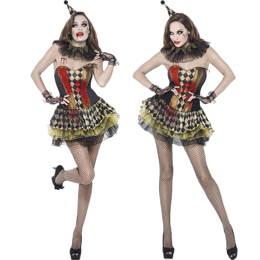 <font><b>Halloween</b></font> <font><b>Sexy</b></font> Scary Clowen Cosplay Costume for <font><b>Women</b></font> Carnival Party Evil Zombie Ghost Bloody Fancy Lace Plaid Cake <font><b>Dress</b></font> image