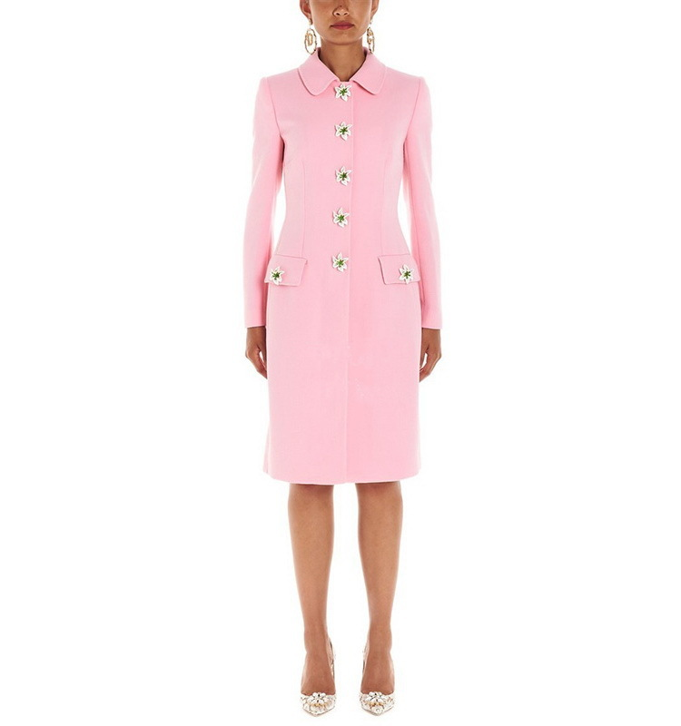 Women high quality elegant sim fit coat 2019 autumn brand design Pink   Trench   coat Chic women's coat A946