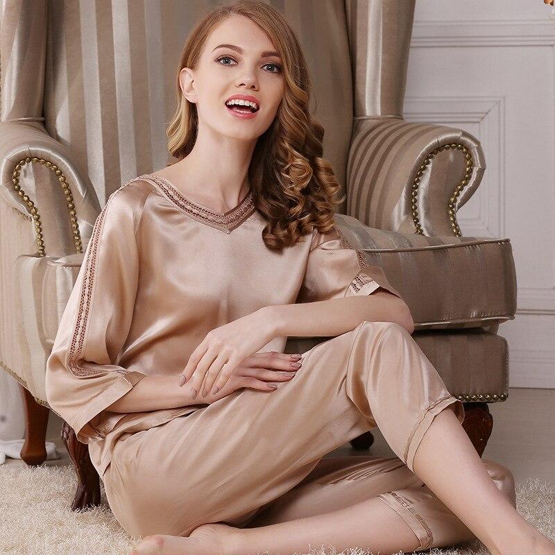 Женские пижамы для сна и отдыха, летние Пижамные комплекты из 100% шелка, T7702