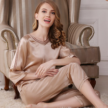 Women's Sleep & Lounge summer 100% silk Pajama Sets woman T7