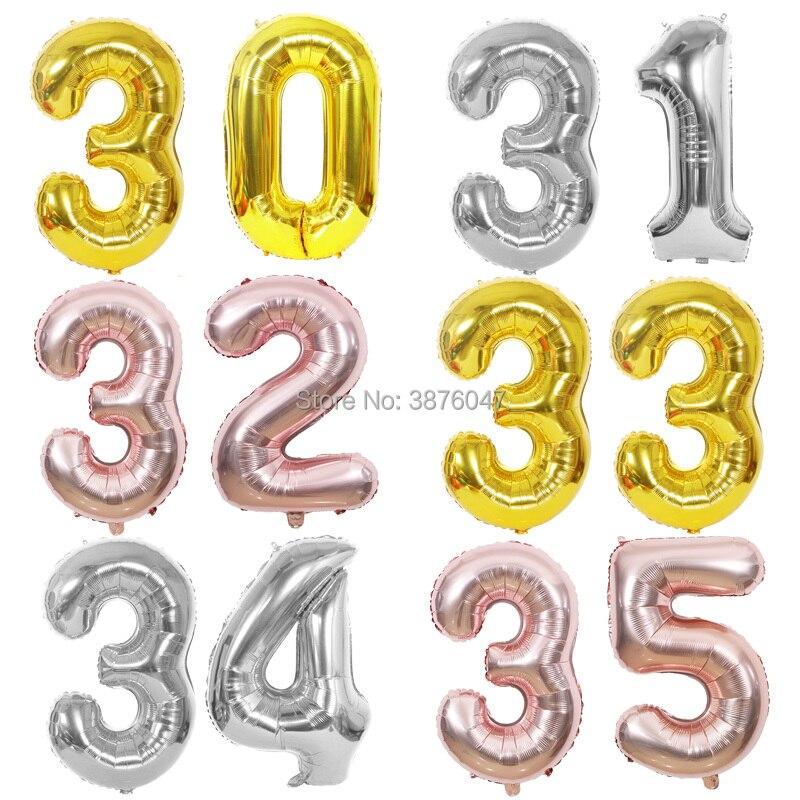 Воздушные шары 40 дюймов 30 31 32 33 34 35, цвет розовое золото, серебро, фотоаксессуары, 30th 31st 32nd 33rd 34th 35th, для дня рождения