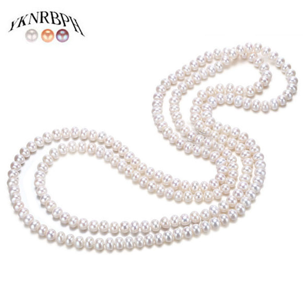 YKNRBPH Women's Long Natural Pearl Necklace Luxury Autumn and Winter Sweater Pearl chains