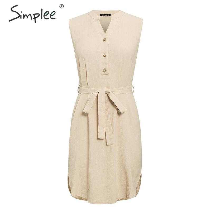 Image 5 - Simplee Sleeveless women spring dress Elegant v neck solid single breasted mini dress Summer lady cotton chic belt office dressDresses   -
