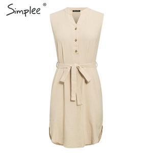 Image 5 - Simplee Vestido corto de algodón sin mangas, vestido elegante de mujer para oficina, liso, con cuello de pico y una sola hilera de botones para verano