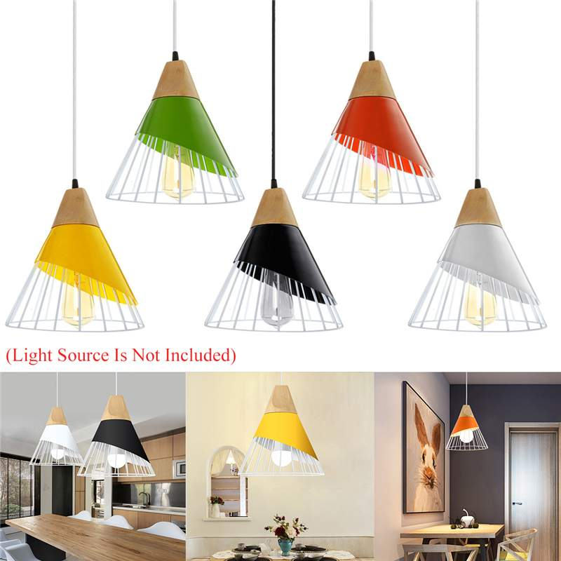Nordic LED Pendant Lights Dining Room Pendant Lamp Modern Colorful Restaurant Kitchen Coffee Bedroom Loft Hanglamp Wood E27|Pendant Lights| |  -