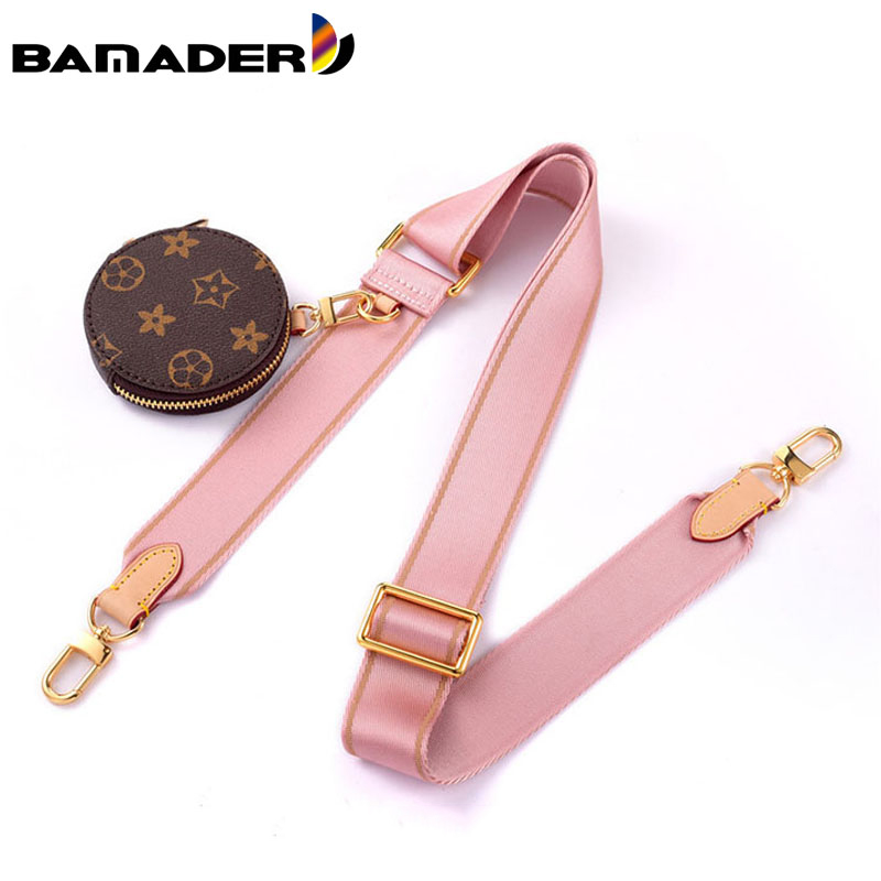 BAMADER Canvas Webbing Wide Bag Strap Adjustable Shoulder Strap Plus Coin Purse Leather Cowhide Women Bag Replacement Bag Strap