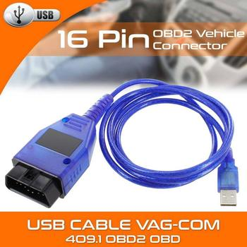 NEW Car USB Vag-Com Interface Cable KKL VAG-COM 409.1 OBD2 II OBD Diagnostic Scanner Auto Cable Aux for V W Vag Com Interface image