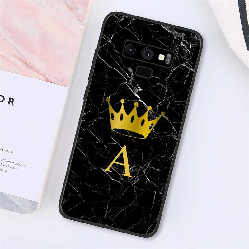 Custom Name Letter Monogram Black Marble Gold Crown Phone Case For Samsung Galaxy A50 A70 A20 A30 Note9 8 7 Note10 Pro