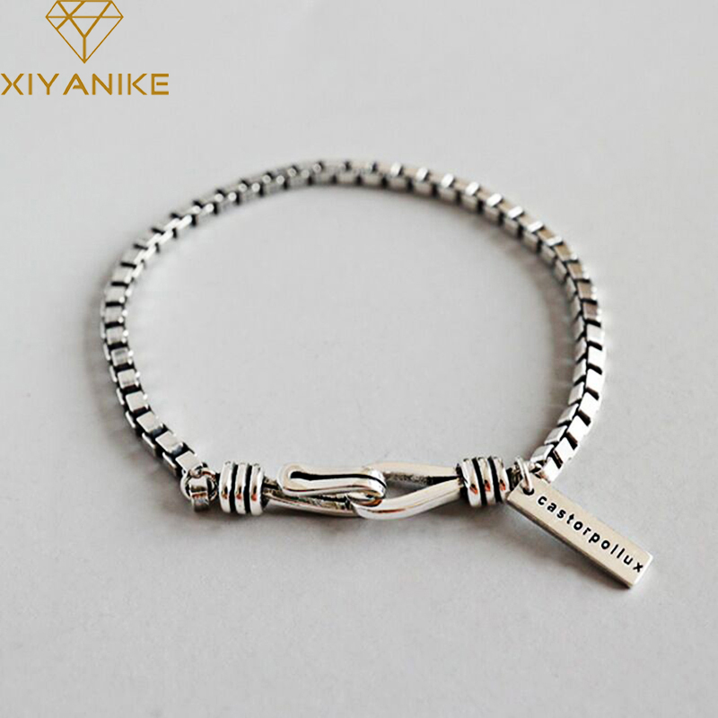 XIYANIKE 925 Sterling Silver Korean Style Vintage Geometric Bracelets Bangles For Women Wedding Couple Fashion Party Jewelry