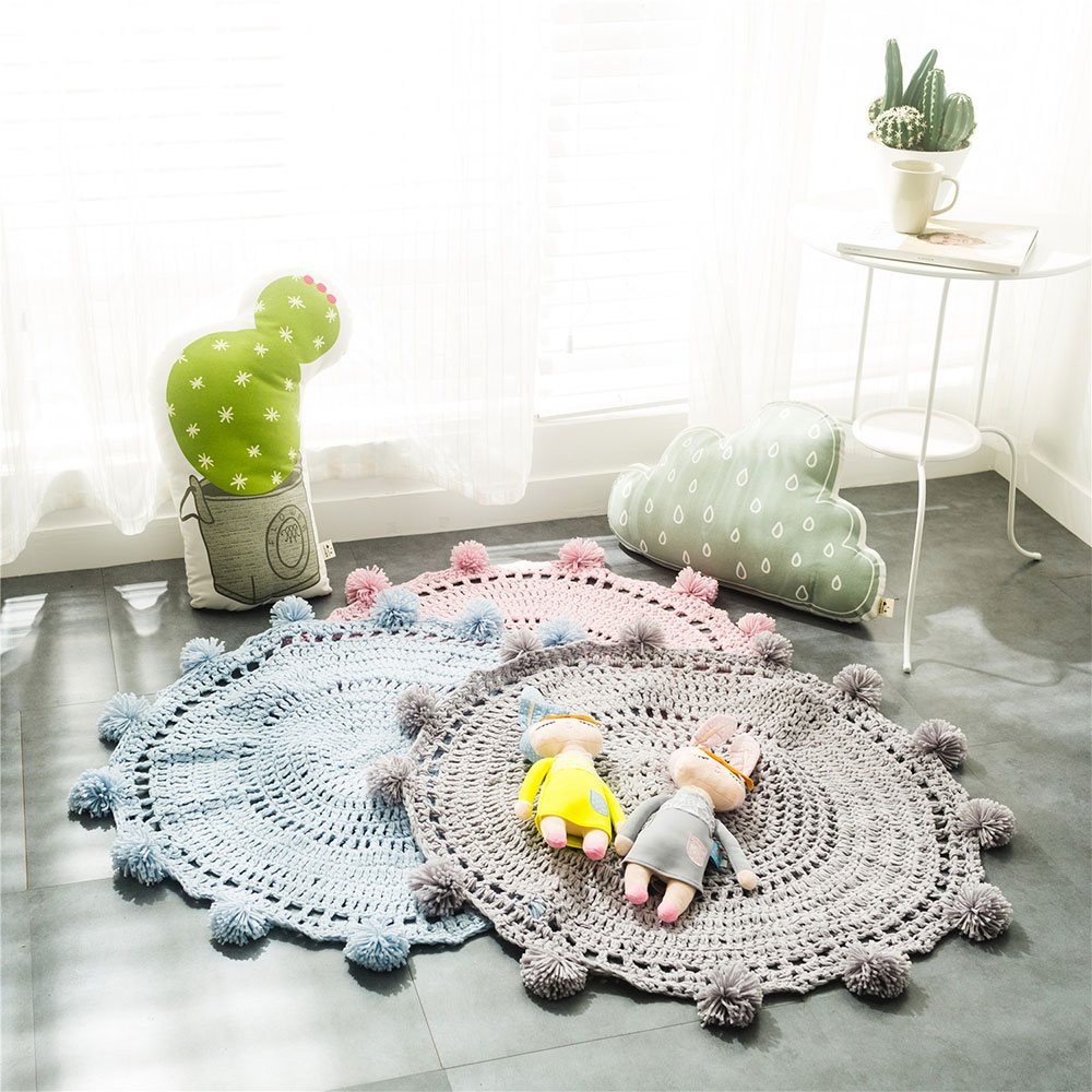 80cm Pom Play Mat Handmade Rugs Baby Crochet Blanket Kids' Room Decorate Carpets Gaming Crawling Mats For Children Gifts Toys