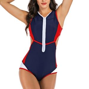 Image 3 - Riseado טלאי חתיכה אחת בגד ים נשי לגזור בגדי ים נשים ספורט פריחה משמרות בריכת גלישת הקיץ וחוף