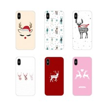 For LG G3 G4 Mini G5 G6 G7 Q6 Q7 Q8 Q9 V10 V20 V30 X Power 2 3 K10 K4 K8 2017 Christmas New Year gifts elk snow Phone Skin Cover(China)