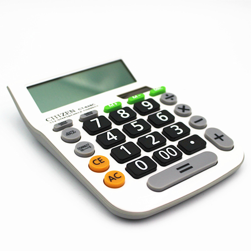12 Digit Desk Calculator Large Buttons Financial Business Accounting Tool  White Big Buttons CT-628C
