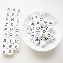 100-1000 pçs silicone inglês letras contas 10mm bebê dentição mordedor contas para diy nome na chupeta corrente mastigar alfabeto grânulo