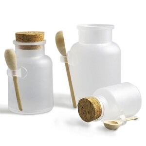 Image 1 - 12 x vazio 100g 200g 300g 500g em pó garrafa plástica 100g banho frasco de sal com cortiça de madeira & colher de madeira