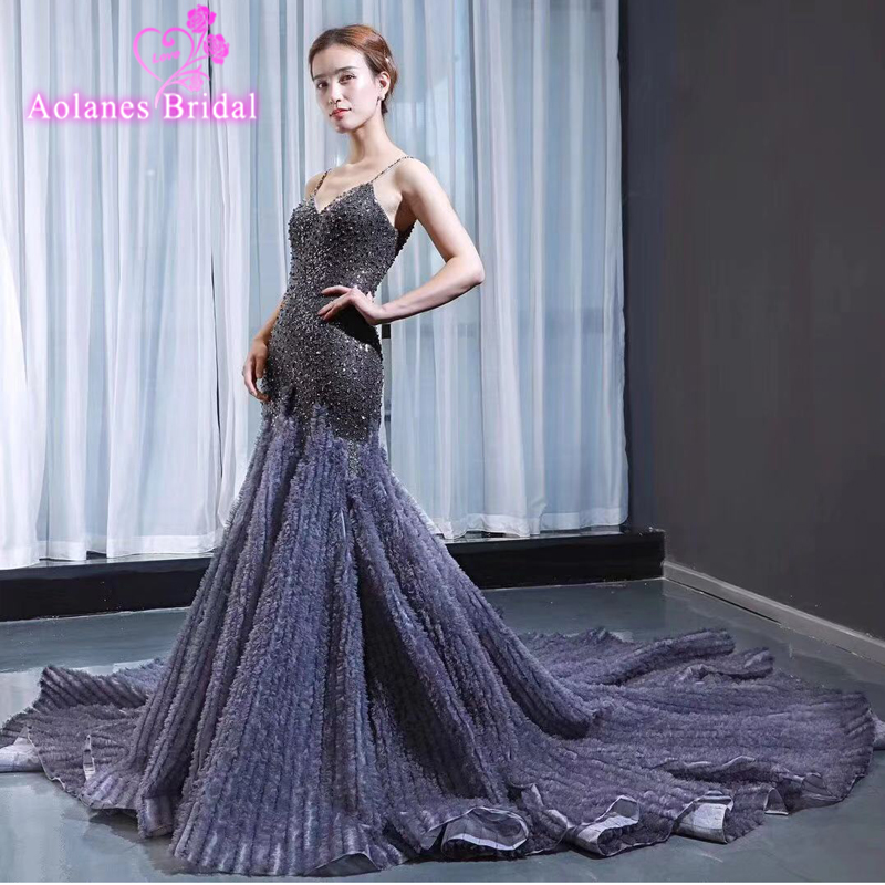 2019 Grey Beading Ruffless Long Mermaid Prom Dresses Sexy V Neck Women Formal Evening Party Gown Custom Luxurious Prom Gown