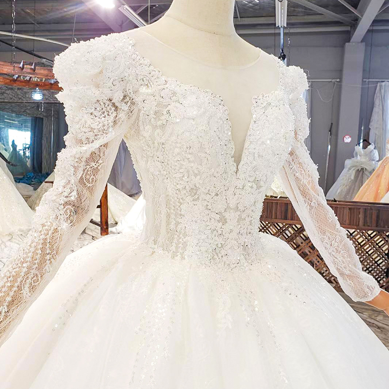 HTL1821 Luxurious Sequined Beading Crystal Fiowers White Wedding Dress 2020 V-Neck Long Sleeve Ball Gowns 5
