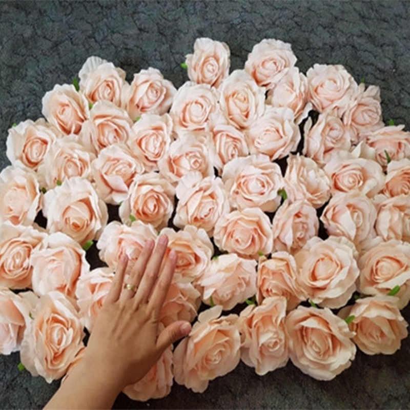Flor de Rosa Artificial grande 7 Uds., cabezas de flor de seda para pared, Fondo de flores DIY, camino led, decoración de fondo de boda, Rosa floral