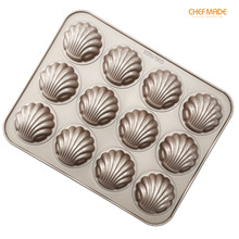 CHEFMADE Madeleine Cake Mold, 12-Cavity Non-Stick Spherical scallop Madeline Pan, FDA Approved