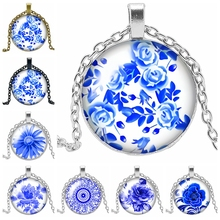 2019 Latest White Porcelain Petal Figure Series Glass Convex Round Pendant Necklace Fashion Jewelry Gift