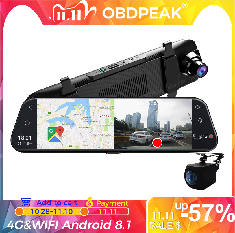 Car DVR A980 4G Android 8 1 ADAS 10inch Stream Media Dash Cam Camera Car Camera Recorder Dvr Dashcam GPS Navigation 1080P WIFI