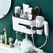 Wall mounted banheiro rack shampoo cosméticos chuveiro rack de armazenamento secador de cabelo espaço artigos domésticos acessórios do banheiro
