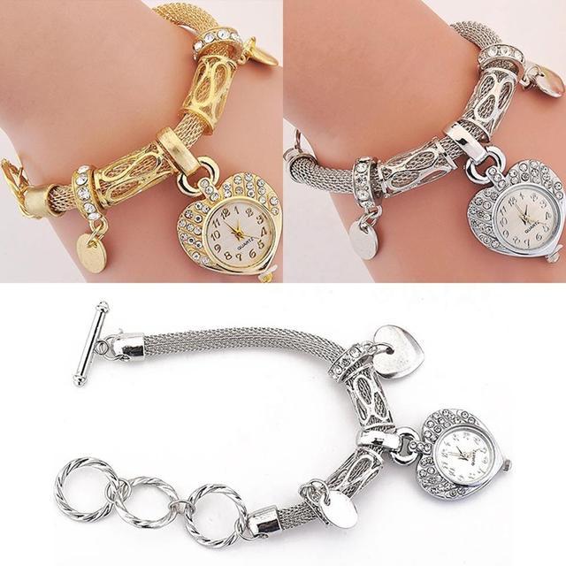 Fashion Women's Love Heart Bracelet Watch Charm Band Analog Quartz Wrist Watch Ladies Dress Watches Gift Luxury