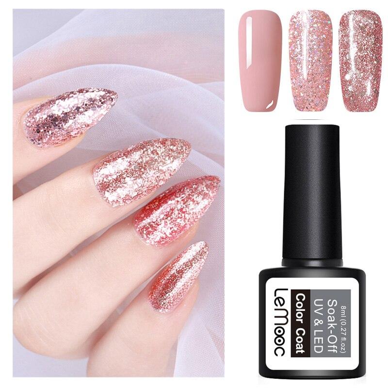 8ml Nail Art Shining Glitter Sequins Platinum Paint Gel Crystal Nail Art Soak off Platinum Rose Gold UV Gel Nail Polish