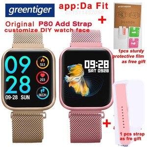 Image 1 - Greentiger P80 Astuto Della Vigilanza Donne IP68 Impermeabile Monitor di Frequenza Cardiaca Fitness Tracker di Pressione Sanguigna Smartwatch VS B57 P68 S226