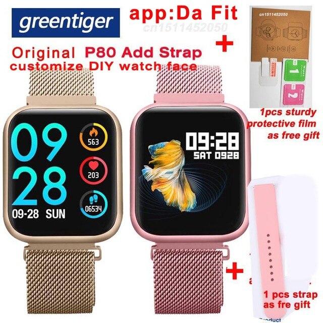 Greentiger P80 Astuto Della Vigilanza Donne IP68 Impermeabile Monitor di Frequenza Cardiaca Fitness Tracker di Pressione Sanguigna Smartwatch VS B57 P68 S226