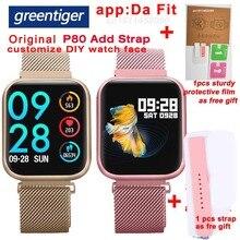 جرينتيجر P80 ساعة النساء الذكية IP68 مقاوم للماء رصد معدل ضربات القلب اللياقة البدنية تعقب ضغط الدم Smartwatch VS B57 P68 S226