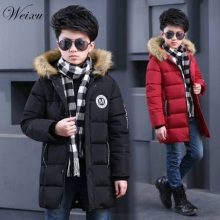 Baby Boy Winter Jackets Fur Hooded Children Kids Long Thick Warm Cotton Parka Coat Outerwear Clothes for Teen Boy 6 7 8 15 years цена в Москве и Питере