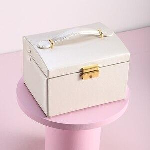 Image 4 - גדול תכשיטי אריזת קופסות ארון הלבשה חזה עם נועלים צמיד טבעת ארגונית נשיאת מקרים עם 2 מגירות 3 שכבות