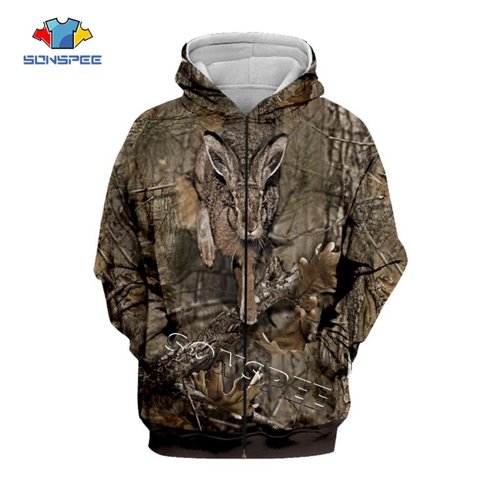 SONSPEE 3D Camo HUNTING ANIMALS Hare Hoodies Women Fashion Streetwear Hooded Sweatshirt Long Sleeve Casual Pullover Men Hoodie X