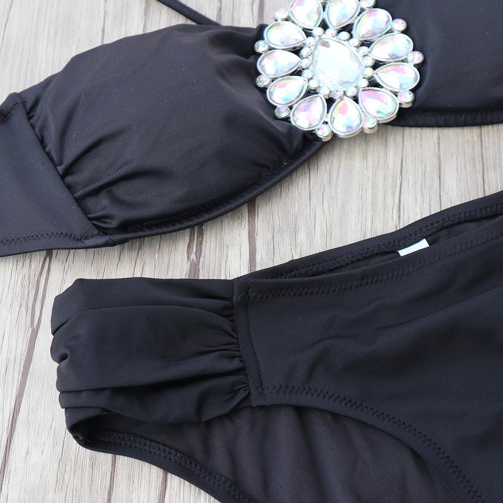 Summer Women White Brooch ornaments Bikini Set Black Secret Swimsuit Biquini Sexy Cheeky Bottom brazilian Bathing Suit Swimwear 4