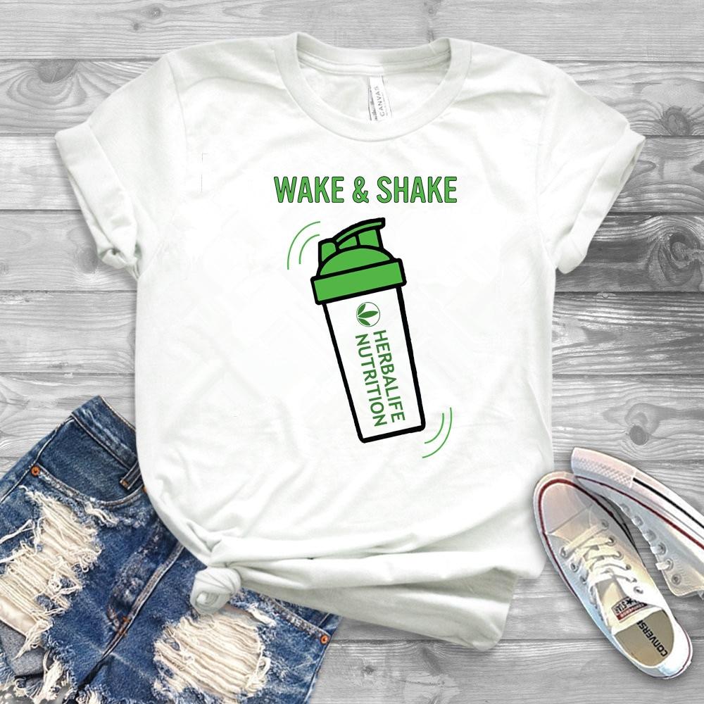 Режим активации и встряхните Гербалайф питание забавная футболка Herbalife женская футболка повседневные топы, футболки размера плюс рубашки «...