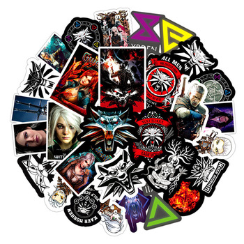 50Pcs The Witcher-3 Geralt Wild Hunt Stickers Skateboard Fashion Suitcase Fridge Stickers Geralt of Rivia White Wolf Halloween the witcher 3 iii solid 925 silver necklace wild hunt wolf medallion geralt of rivias necklace pendant