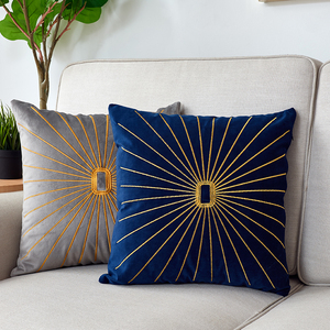 Image 1 - Luxury Pillow Cover Embroidered Gold Pillow For Living Room Sofa Velvet Cushion Cover Nordic Home Decor Blue Green Kussenhoes
