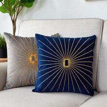 高級枕カバー刺繍ゴールド枕リビングルームのためのソファベルベットクッションカバー北欧家の装飾ブルーグリーン kussenhoes