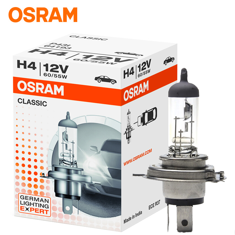 OSRAM H7 Halogen H4 H1 H3 H11 HB3 HB4 Halogen 55w Car Headlight Bulb Lamp White For Passat Peugeot 307 Honda Civic Vw Ford(1PC)