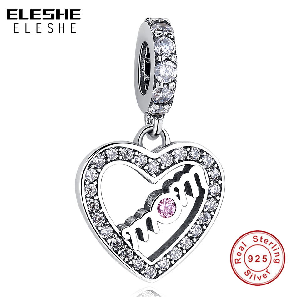ELESHE 925 Sterling Silver Mum Mom Love Heart Beads Charms fit Pandora Bracelet Pink CZ Crystal Pendant DIY Jewelry For Mother(China)