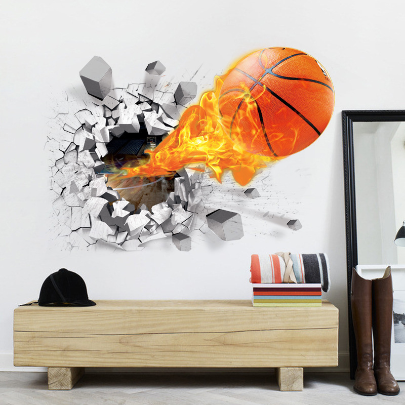 New Style Wall Stickers Wholesale Foreign Trade 3D Basketball Sports Television Home Background Decoration Children Environmenta