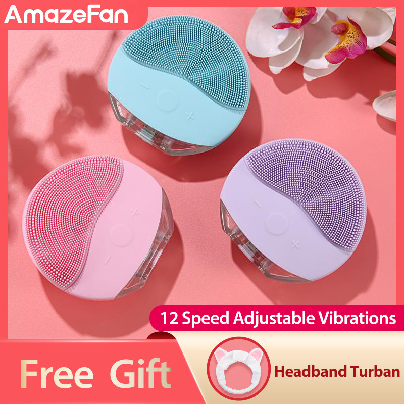 Mini sonic facial cleaning brush IPX7 Waterproof powered facial cleaning devices Silicone foreoing Skin Pore Cleaner Massage